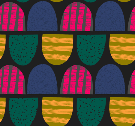 arched: Abstract seamless pattern. Arched textured shapes. Colorful creative repeating background. It can be used for wallpaper, textiles, wrapping, card, cover. Vector illustration, eps10 Illustration
