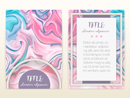 Cover design with marbling. Marble texture. Paint splash. Colorful fluid. It can be used for brochure, card, cover book, catalog. Size A4. Vector illustration, eps10