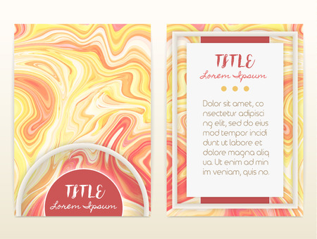 size: Cover design with marbling. Marble texture. Paint splash. Colorful fluid. It can be used for brochure, card, cover book, catalog. Size A4. Vector illustration, eps10