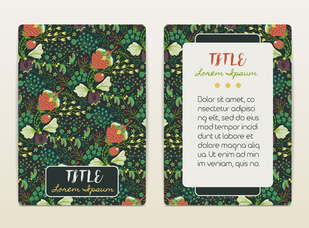 size: Cover design with floral pattern. Hand drawn creative flowers. Colorful artistic background with blossom. It can be used for invitation, card, cover book, catalog. Size A4. Vector illustration, eps10 Illustration