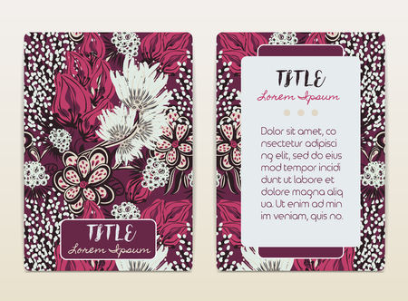 a4 borders: Cover design with floral pattern. Hand drawn creative flowers. Colorful artistic background with blossom. It can be used for invitation, card, cover book, catalog. Size A4. Vector illustration, eps10 Illustration