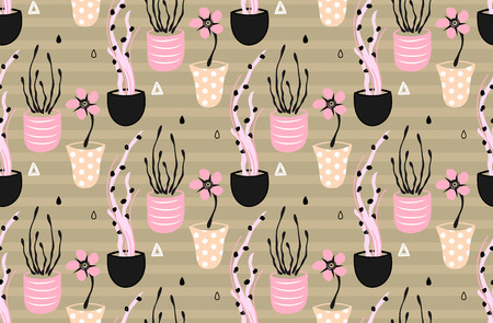 sloppy: Floral seamless pattern. Hand drawn creative flowers in pots. Artistic background with blossom. Abstract herb. It can be used for wallpaper, textiles, wrapping, card, cover. Vector illustration, eps10