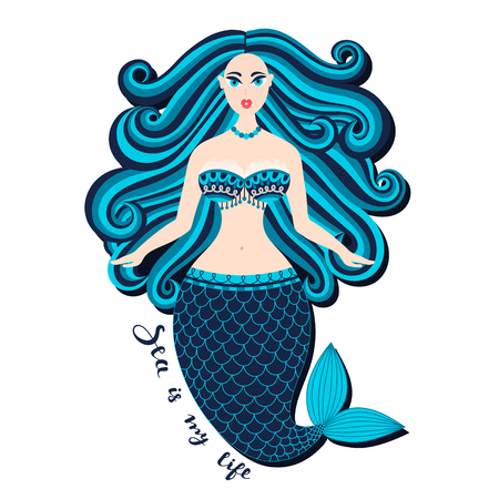 Mermaid. Hand drawn sea girl. Beautiful woman with tail. Marine summer design. Nixie with wild hair. Summertime. Nymph. Seamaid. Undine. Poster, invitation, card, cover, banner. Vector, eps10