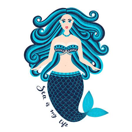 人魚。手描きの海の少女。尾を持つ美しい女性。海洋の夏仕様。野生の髪のニキシー。夏。ニンフ。Seamaid。ウンディーネ。ポスター、招待状、カー