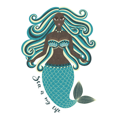 Sirena. Afroamericano. Dibujado a mano niña de mar. Mulato. Hermosa mujer con cola. Diseño de verano marino. Nixie con el pelo revuelto. Hora de verano. Cartel, invitación, tarjeta, cubierta, pancarta. Vector, eps10