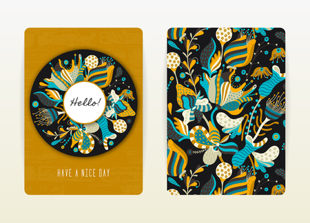 catalog: Cover design with floral pattern. Hand drawn creative flowers. Colorful artistic background with blossom. It can be used for invitation, card, cover book, catalog. Size A4. Vector illustration, eps10 Illustration