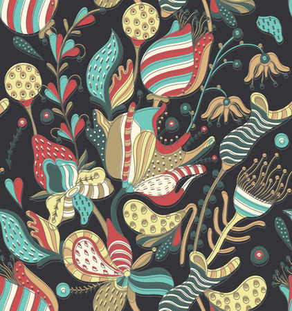 sloppy: Floral seamless pattern. Hand drawn creative flowers. Colorful artistic background with blossom. Abstract herb. Can be used for wallpaper, textiles, wrapping, card, cover. Vector illustration, eps10