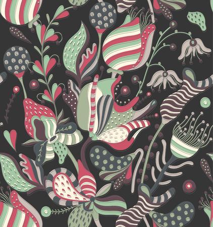Patrón transparente floral. Flores creativas dibujadas mano. Fondo artístico colorido con el flor. Hierba abstracta. Se puede utilizar para papel tapiz, textiles, embalaje, tarjeta, cubierta. Ilustración vectorial, eps10 Foto de archivo - 80709588