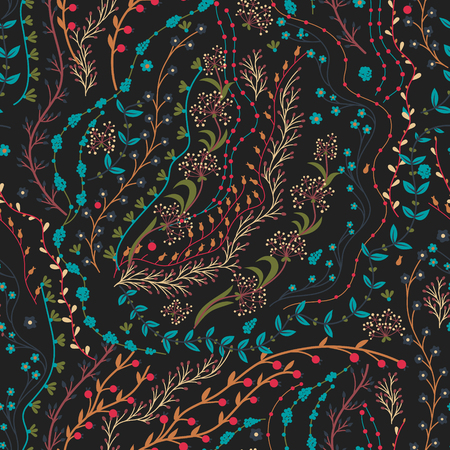 Floral seamless pattern. Hand drawn creative flowers. Colorful artistic background with blossom. Abstract herb. Can be used for wallpaper, textiles. Vektoros illusztráció