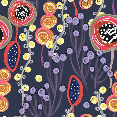 Floral seamless pattern. Hand drawn creative flowers or trees. Colorful artistic background. Abstract herb. Can be used for wallpaper, textiles, wrapping, card, cover. Vector illustration, eps10