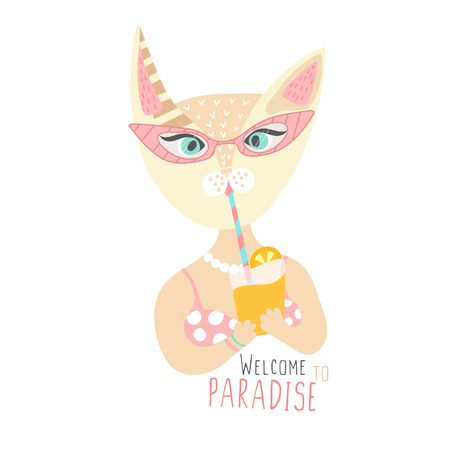 Cute cat in swimsuit with cocktail. Welcome in paradise. Time relax. Rest. Travel. Hand drawn animal. Summer. Banner, poster, advertising or sticker. Vector illustration, eps10