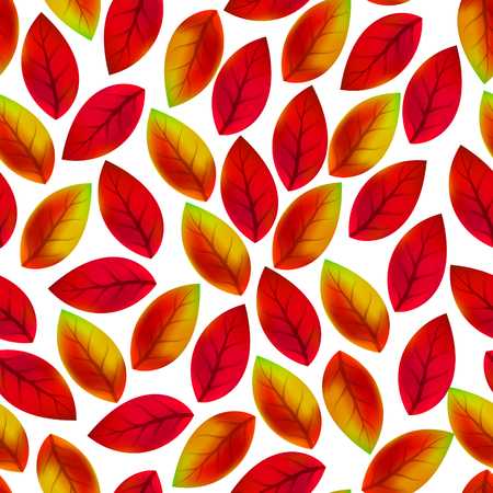 Floral seamless pattern with fallen leaves. Autumn. Leaf fall. Colorful artistic background. Can be used for wallpaper, textiles, wrapping, card, cover. Vector illustration, eps10