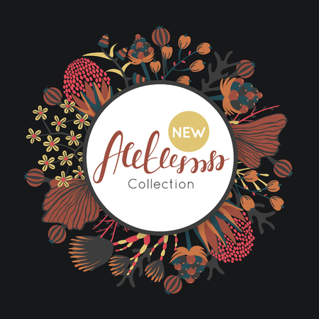 signboard form: New autumn collection. Fall. Floral round frame. Hand drawn flowers around circle. It can be used for card, invitation, flyer, banner, advertising, signboard.