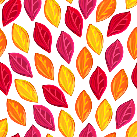 Floral seamless pattern with fallen leaves. Autumn. Leaf fall. Colorful artistic background. Can be used for wallpaper, textiles, wrapping, card, cover.