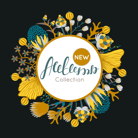 New autumn collection. Fall. Floral round frame. Hand drawn flowers around circle. It can be used for card, invitation, , banner, advertising, signboard . illustration Illustration