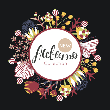 New autumn collection. Fall. Floral round frame. Hand drawn flowers around circle. It can be used for card, invitation, flyer, banner, advertising, signboard . Vector illustration, eps10
