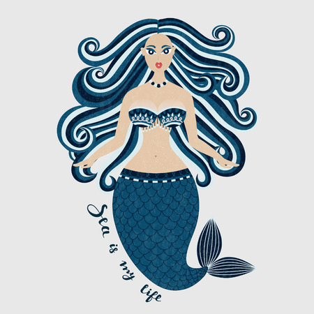 Mermaid. Hand drawn sea girl. Beautiful woman with tail. Marine summer design. Nixie with wild hair. Summertime. Poster, invitation, card, cover, banner, Vector, eps10
