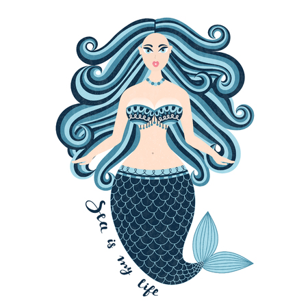 busty: Mermaid. Hand drawn sea girl. Beautiful woman with tail. Marine summer design. Nixie with wild hair. Summertime. Poster, invitation, card, cover, banner, Vector, eps10