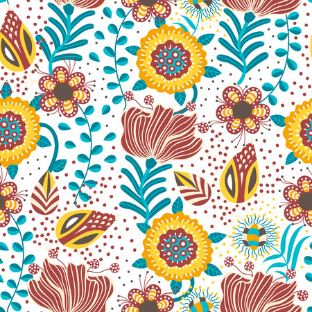 Floral seamless pattern. Hand drawn creative flowers in folk style. Colorful artistic background. Abstract herb. Can be used for wallpaper, textiles, wrapping, card, cover. Vector illustration, eps10