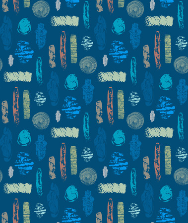 Abstract seamless pattern with textured shapes. Colorful abstract repeating background. Creative design. It can be used for wallpaper, textiles, wrapping, card, cover. Vector illustration.