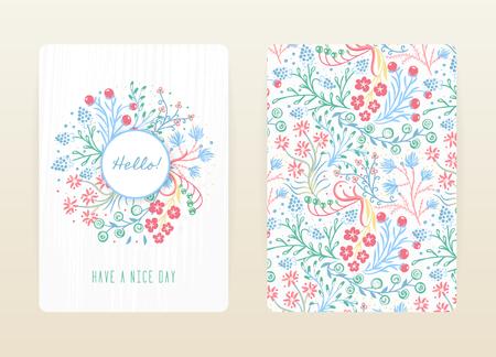 Conception de la couverture avec motif floral. Fleurs créatives dessinées à la main. Fond artistique coloré à la fleur. Il peut être utilisé pour une invitation, une carte, un livre de couverture, un cahier. Taille A4. Illustration vectorielle