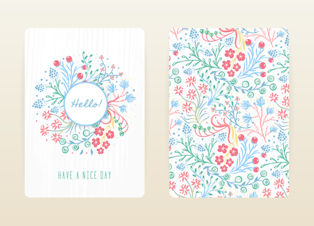 Cover design with floral pattern. Hand drawn creative flowers. Colorful artistic background with blossom. It can be used for invitation, card, cover book, notebook. Size A4. Vector illustration. Vettoriali