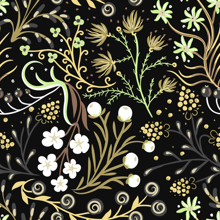 Floral seamless pattern. Hand drawn creative flowers. Artistic background with blossom. Abstract herb. Illustration