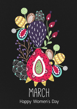 8 March. Happy Womens Day. Floral figure of eight. Spring holiday. Creative hand drawn colorful abstract flowers. Design of card, postcard, poster or invitation. Size A4. Vector illustration, eps10
