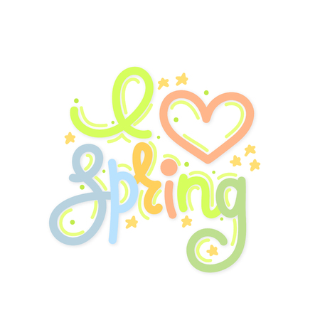 I love spring. Cute creative hand drawn lettering. Freehand style. Doodle. Letters with ornament. Springtime. It can be used for card, print on clothes, banner, poster. Vector illustration