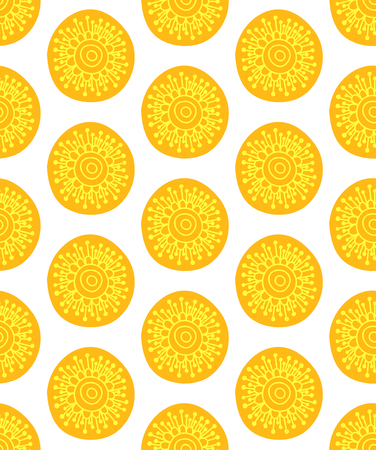 Floral seamless pattern. Hand drawn creative flower in round shape. Colorful artistic background. Abstract herb. It can be used for wallpaper, textiles, wrapping, card. Vector illustration. Illustration