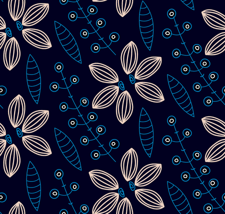 Floral seamless pattern. Hand drawn creative flowers. Colorful artistic background with blossom. Abstract herb. It can be used for wallpaper, textiles, wrapping, card. Vector illustration. Illustration
