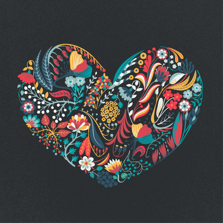 Floral heart. Hand drawn creative flowers. Romance. Colorful artistic background with blossom. Vettoriali