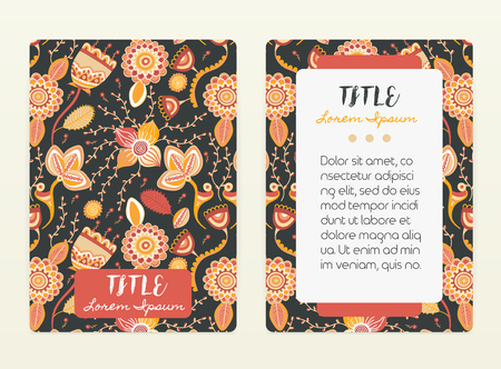 Cover design with floral pattern. Hand drawn creative flowers. Illustration