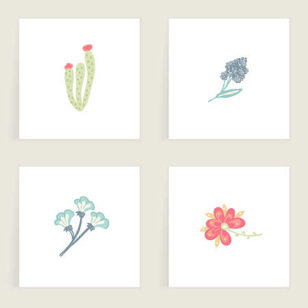 Set of square cards. Hand drawn creative abstract flowers. Floral design. Colorful artistic backgrounds with blossom. It can be used for invitation, message, postcard, cover. Vector, eps10 Illustration