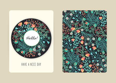 Conception de la couverture avec motif floral. Fleurs créatives dessinées à la main. Contexte artistique coloré avec fleur. Il peut être utilisé pour l'invitation, la carte, le livre de couverture, le cahier. Taille A4. Illustration vectorielle, eps10
