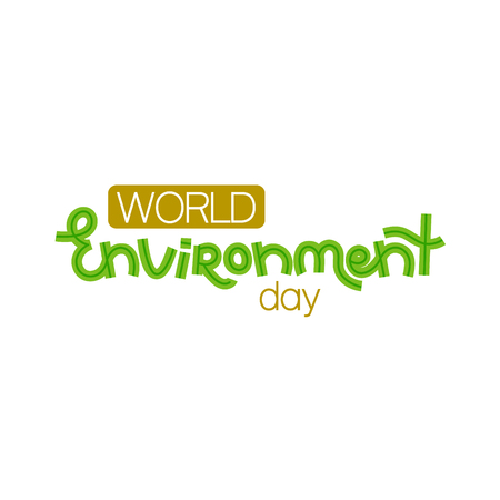 World environment day. Creative hand drawn lettering. Save nature. Eco friendly design. It can be used for banner, poster, invitation, card, brochure. Vector illustration, eps10 Stock Illustratie