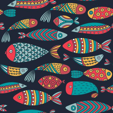 Nahtloses Muster mit Fischen. Hand gezeichnete Unterwasserwelt. Bunter künstlerischer Hintergrund. Aquarium. Kann für Tapeten, Textilien, Verpackungen, Karten, Umschläge verwendet werden. Vektorillustration, eps10 Vektorgrafik