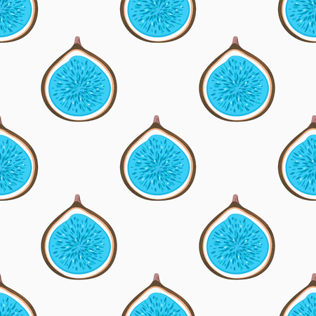 Seamless pattern with abstract blue halves figs. Healthy dessert. Fruity repeating background. Hand drawn fruits. Wrapping, print on clothes, wallpaper, summer banner. Vector illustration, eps10