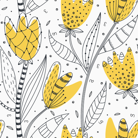 Floral seamless pattern. Hand drawn creative abstract flowers with doodle decoration. Colorful artistic design. It can be used for wallpaper, textiles, wrapping, card. Vector illustration, eps10 Illustration