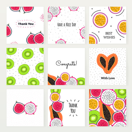 Vector set of square cards with tropical fruits. Hand drawn dragon fruit, kiwi, passionfruit, fig, papaya. Creative backgrounds. Summer design. Invitation, postcard, cover, banner thank you message