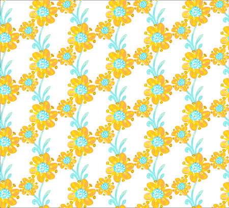 Floral seamless pattern. Hand drawn creative flowers. Colorful artistic background with blossom. Abstract herb. It can be used for wallpaper, textiles, wrapping, print on clothes. Vector, eps10