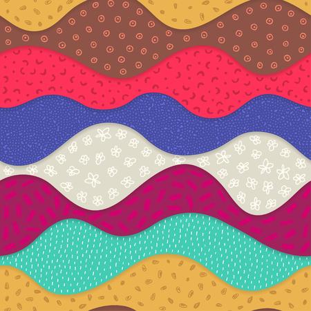 Modèle sans couture de vecteur avec des vagues texturées abstraites. Formes courbes avec de nombreux éléments dessinés à la main. Couches ondulées avec ombre. Conception matérielle. Papier peint, textile, emballage, impression sur vêtements