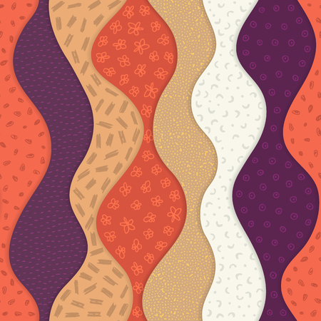 Vector seamless pattern with abstract textured waves. Curve shapes with many different hand drawn elements. Waved layers with shadow. Material design. Wallpaper, textile, wrapping, print on clothes