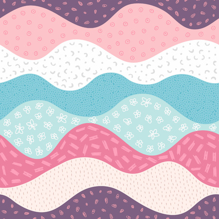 Vector seamless pattern with abstract textured waves. Curve shapes with different hand drawn elements. Background with waved layers. Creative design. Wallpaper, textile, wrapping, print on clothes Ilustração