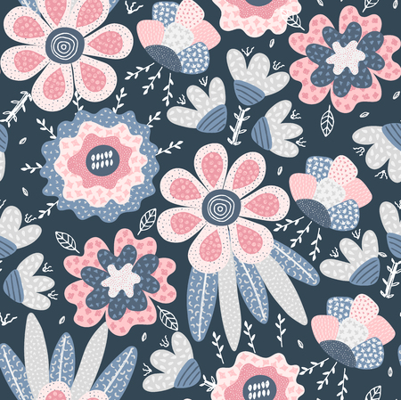 Vector seamless pattern. Abstract hand drawn flowers with different textures. Floral composition. Freehand style. Artistic design for wallpaper, textiles, wrapping, card, print on clothes, packaging Illusztráció
