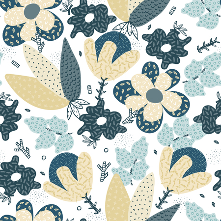 Vector seamless pattern. Abstract hand drawn flowers with different textures. Floral composition. Freehand style. Artistic design for wallpaper, textiles, wrapping, card, print on clothes, packaging Stock Illustratie