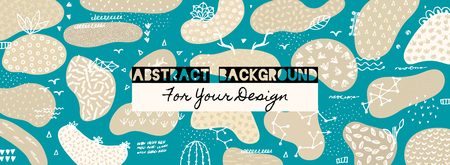 Vector abstract creative background with hand drawn elements and different textured shapes. Freehand style. Applique. Unique artistic design. Header, poster, cover, banner, invitation, packaging