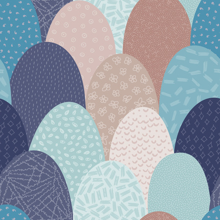 Vector seamless abstract pattern with hand drawn arc shapes. Textured figures. It looks like hills or squama. Creative design. Creative background. Wallpaper, textile, wrapping, print on clothes