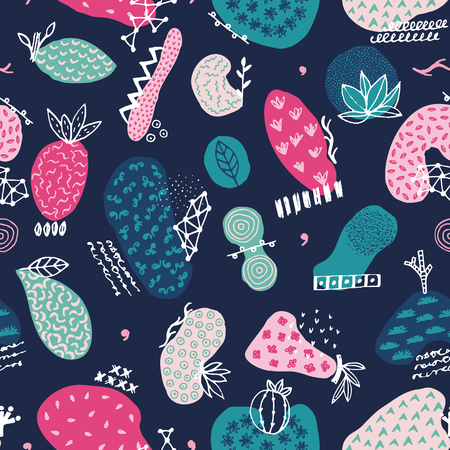 Vector seamless pattern with hand drawn abstract shapes. Spotted and textured figures. Unique design. Creative background. Applique. Freehand style. Wallpaper, textile, wrapping, print on clothes