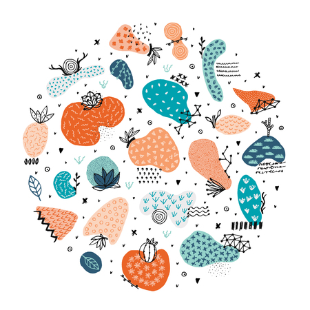 Circle includes hand drawn abstract shapes with different textures, spots and decorative elements. Freehand style. Doodle. It can be used for cover, card, label, poster, print on clothes, mug. Vector